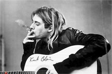 Nirvana Kurt Cobain Smoking Joint Black & White Poster New 36x24 Fast Free Ship