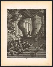 1800s Original Antique Christian Engraving Samson Art Print