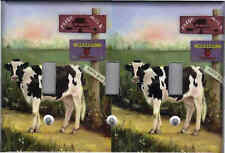 Farm Cow Home Wall Decor Triple Light Switch Plate Cover