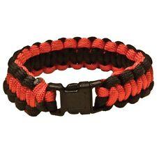 "Paracord Survival Bracelet 550 Cobra Stitch 7"" Red Black Emergency Cord"