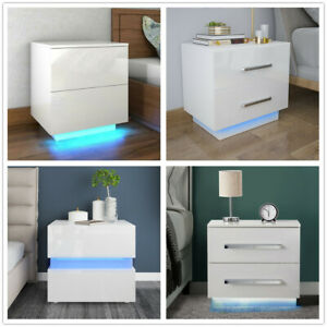 Modern Bedside Table High Gloss 2 Drawers Cabinet Nightstand RGB LED Light White