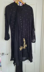 Asian party wear 3 piece suit black with gold embroidery