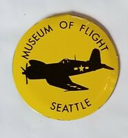 """Vintage Museum of Flight Seattle Collectible Pin Button YELLOW 1"""""""