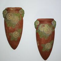 Pair of Vintage Wall Pocket Vase Art Nouveau Arts and Crafts Style Japan