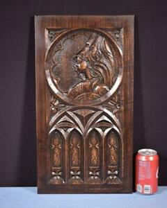 *French Antique Gothic Carved Architectural Panel in Chestnut Wood Salvage