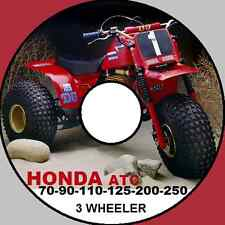 HONDA ATC 3 WHEELER 70 90 110 125 185 200 250 350 BIG RED WORKSHOP MANUAL CD