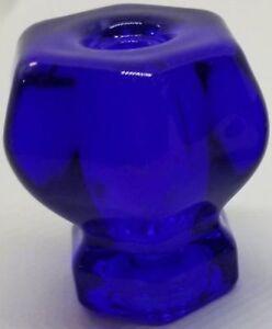 "1-1/2"" COBALT BLUE Hexagonal Glass Knob Hexagon antique vintage old retro pan Ho"