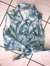 TOMMY BAHAMA Size Large Hawaiian Tie Front Wrap Top Floral Leaves