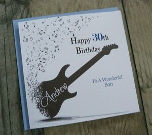 Handmade Personalised Birthday Card Guitar 16th 18th 21st 40th 100 Any Age  C266