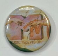 VTG Old Original MTV Music Television Pin Pinback Button Creation of Adam Design