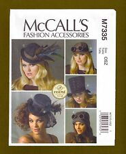 Costume Hats Sewing Pattern~Top Hat & More! (Sizes XS-L) McCalls 7335