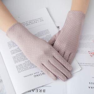 Women Touch Screen Sunscreen Gloves Cotton Lace Female Elegant Anti-UV Gloves
