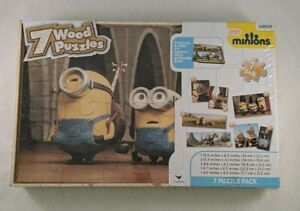 Minions 7 Wood Puzzles Pack With Tray & Storage Box By Cardinal New
