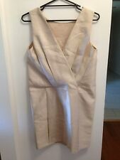 CALVIN KLEIN NWOT Sz8 Cream Formal / Daytime Dress 59% Wool / 41% Mulburry Silk