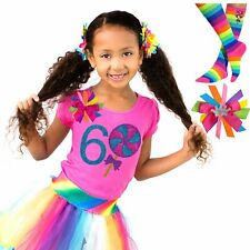 Candy Lollipop 6th Birthday Girl Shirt Rainbow Tutu Outfit Socks Name Hair Bow 6