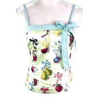 Anthropologie Elevenses Green Fruit Bow Sleeveless Spaghetti Strap Top Womens 6