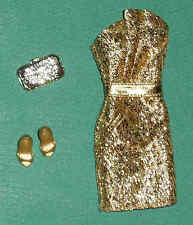 BEAUTIFUL GOLD COCKTAIL DRESS & SHOES ~ THE BARBIE LOOK ~ CITY SHINE COLLECTION!