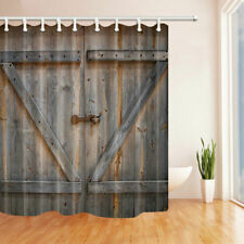 Rural Wooden Barn Rustic Door Fabric Shower Curtain Bathroom Waterproof 71x71""
