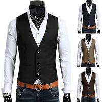 Men Formal Dress Suit Slim Fit Tuxedo Vest V-neck Waistcoat Business Casual Coat