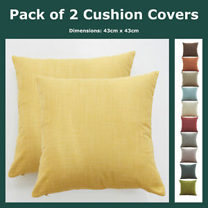 Pack of 2 Plain Cotton Linen Textured Cushion Covers Solid Throws Pillow Cases