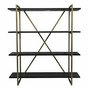 SEI Furniture Hawridge Reclaimed Wood Bookshelf, Black/Gold