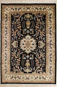 Rugstc 4x6 Pak Persian Black  Rug, Hand-Knotted,Pictorial Hunting,Silk/Wool