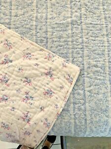 Rachel Ashwell Couture Floral Full/ Queen Quilt Blue Pink White REVERSIBLE KING