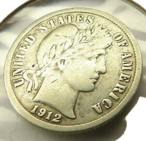 1912-D BARBER DIME SILVER COIN LIGHTLY CIRCULATED + FREE SHIPPING!