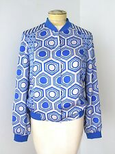 NWT Silvian Heach Blue Gray Geometric Longo Zip Track Jacket Pockets Lined XS