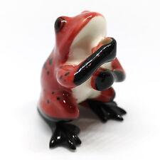 Ceramic FIGURINE Red Frog Incense Holder Porcelain Miniatures Collectible