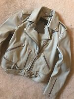 "ALL SAINTS WOMEN'S LUNA BLUE ""BALFERN"" LEATHER BIKER JACKET COAT - UK 8 NEW TAGS"
