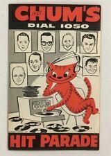1958 Chum Chart Chum's Dial 1050 Radio Music Vintage Toronto Ricky Nelson