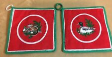 Two Vintage Pot Holders, Hand Made, Printed Design, Duck, Chipmunk, Holly