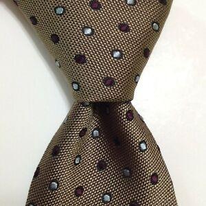 ERMENEGILDO ZEGNA Men's 100% Silk Necktie ITALY Luxury POKLA DOT Brown/Blue EUC