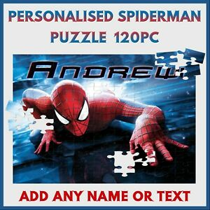 Personalised Spiderman Puzzle - 120pc Jigsaw - Name Gift Kids Birthday Christmas