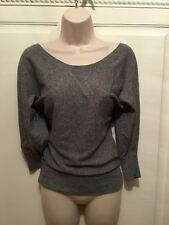 AMERICAN EAGLE Women's Light Weight Cotton Gray 3/4 Sleeve Banded Sweater S