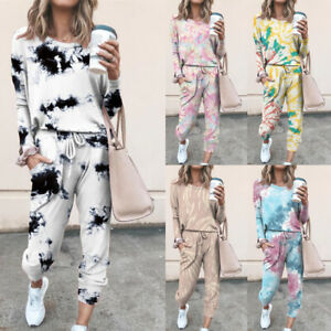 Womens Tie-Dye Set Loungewear Homewear Long Sleeve Tops+Pants Gradient Tracksuit