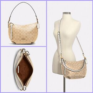 Coach Signature Small Skylar Hobo Shoulder Handbag 90738 Light Khaki /Chalk NEW