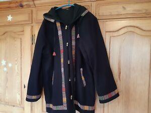 Jacke Mantel Wolle Nepal Hippie Goa blau bunt Gr S M 36 38 40