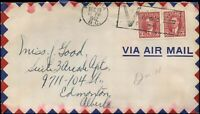 "1942 Canada VICTORIA AIR MAIL ""V"" Cover with Pair Scott #233c Mufti Issue stamps"