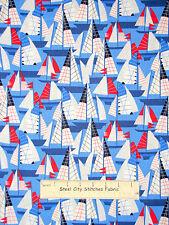 "Nautical Sailing Sail Boat Red Blue Cotton Fabric Benertex Cabana #05979 - 21"""