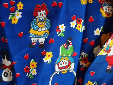 60's Fabric Vintage Raggedy Ann Andy Scrap great for Doll Clothes! Cotton