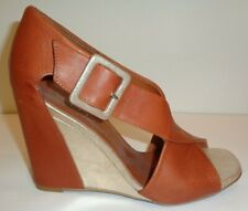 Sesto Meucci Size 10 M SALOME Brown Leather Wedge Heel Sandals New Womens Shoes