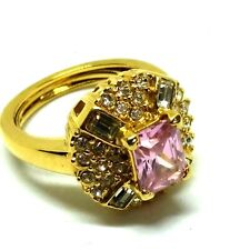 Pink Tourmaline Gold Plated Lab Diamond Halo Ring Size 7 SP187