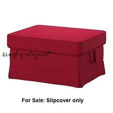 IKEA EKTORP Cover for EKTORP Footstool w/ Storage Idemo Red Ottoman Slipcover