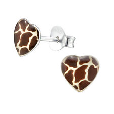 Giraffe Print Heart Sterling Silver Stud Earrings
