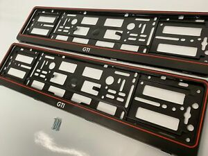 Vw Volkswagen GTI Number Plate Surround Frames Pair golf polo up lupo turbo fsi