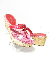 COACH ELECTRA Pink Espadrilles Wedge Sandals SZ 9M