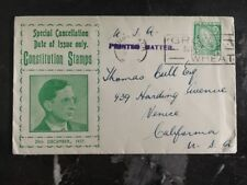 1937 Limerick Ireland First Day Cover FDC To Venice Usa Constitution Stamps