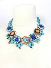 Blue Chunky Necklace  Choker  Gems Statement  Charms